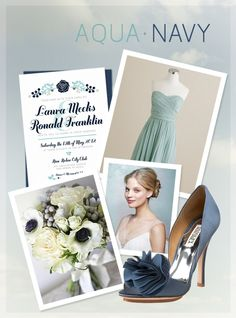 Aqua and Navy Wedding Inspiration Board by kxodesign  @Niki Geffert  I like the aqua with navy, too! Very different