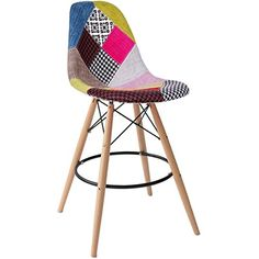 "Amazon.com: 2xhome - Set of Two (2) - Multicolor - 26"" Seat Height Modern Upholstered Eames Style Bar Stool Barstool Counter Stools with backs and armless Natural Legs Wood Eiffel Legs Dowel-Leg: Kitchen & Dining"