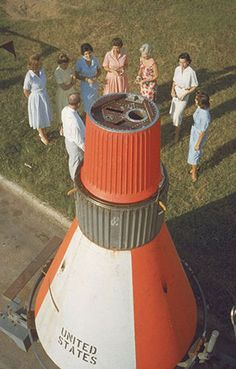 The original Mercury astronauts' wives: Josephine Schirra, Betty Grissom, Annie Glenn, Louise Shepard, Rene Carpenter, Marjorie Slayton, and Trudy Cooper, as photographed in 1959. (TIME/LIFE)