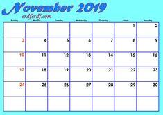 11 November Blank 2019 Calendar By Month