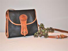 Dooney & Bourke Black All Weather Leather Essex Bag Vintage Closet, Brown Trim, Brass Hardware, Dooney Bourke, Vintage Sewing, Preppy, Crossbody Bag, Weather, Purses