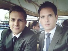 "Gabriel Macht & Patrick J.otherwise known as Harvey Specter and Mike Ross from USA's show ""Suits. Serie Suits, Suits Tv Series, Suits Tv Shows, Specter Suits, Harvey Specter, Donna Harvey, Suits Harvey, Mike Suits, Patrick J Adams"