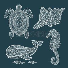 tatuaggio tartaruga: Handmade stilizzato set di tartaruga, balena, cavallo di mare, guscio.