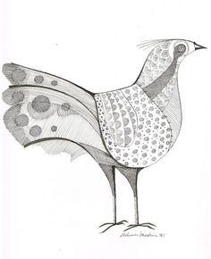 ALDEMIR MARTINS - nanquim s/ papel ( Pássaro ) med: 25 x..