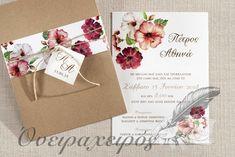 Προσκλητήρια Γάμου με λουλούδια και κάρτα με τα μονογράμματα του ζευγαριου Gift Wrapping, Tableware, Gifts, Wedding, Gift Wrapping Paper, Valentines Day Weddings, Dinnerware, Presents, Wrapping Gifts
