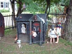 dollhouse of doom - I'm doing our playhouse as a witch's house with candy, etc on it. I am NOT willing to paint it black though. Halloween Outside, Halloween Doll, Cute Halloween Costumes, Outdoor Halloween, Halloween Projects, Scary Halloween, Halloween Ideas, Happy Halloween, Halloween Stuff