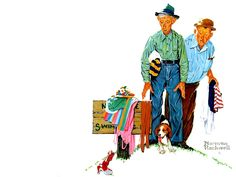 """Norman Rockwell """"Two Old Men and Dog"""" (1950)"""