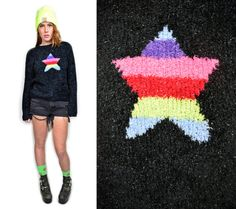VTG 90s Grunge Fuzzy Holographic Sweater w by OwlephantVintage