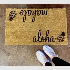 "The Original ""Aloha/Mahalo"" outdoor mat by ShopJosieB on Etsy https://www.etsy.com/listing/248269379/the-original-alohamahalo-outdoor-mat"