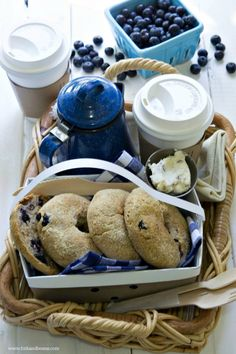 Coffee with Blueberry bagels and cream cheese - How I wish I could make you breakfast again -
