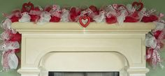 GARLAND Valentines Day Red White and Blue by wreathsbyrobin, $65.00