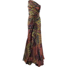 OSCAR DE LA RENTA Madras Plaid Chiffon Gown ($5,790) ❤ liked on Polyvore