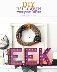 DIY Halloween marquee letters by LollyJane - amazing Halloween decorations!