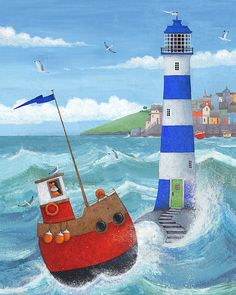 Blue Lighthouse Print by Peter Adderley