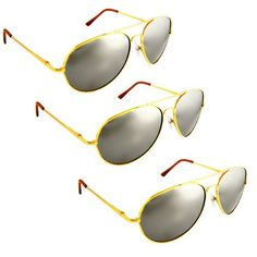 Premium Mirrored Aviator Sunglasses - Gold(3Pack) Special H2W. $10.46