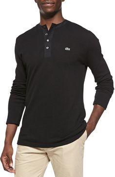 Lacoste - Black Longsleeve Waffle Henley W Logo W Logos, Henley Shirts, Lacoste, Cool Style, Waffle, Pullover, Suits, Long Sleeve, Sweaters