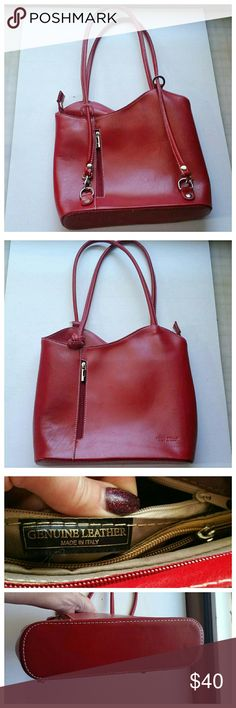 Vera Pelle red italian leather bag In brand new condition.  Italian made fashion shoulder bag. Criss cross strap. Vera Pelle Bags Shoulder Bags