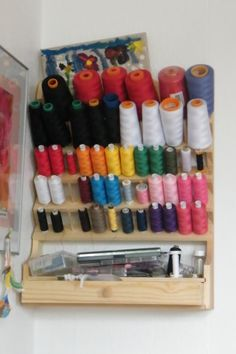 How to organize your thread! You can put it in a cabinet, if you don't want it in 'the open', but if you have a designated craft room this is very convenient.