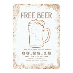 Free Beer | Rustic Funny Save the Date Card - invitations custom unique diy personalize occasions