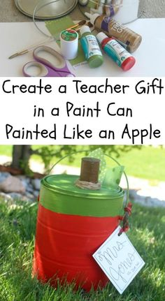 Create a teacher gift in a paint can decorated to be an apple! #iheartduncan