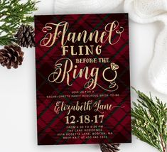 Flannel Fling Before the Ring, Flannel Bachelorette Party Invitation, Winter Bachelorette Party, Holiday Bachelorette Party – Holiday 40 - Brautparty Ideen Couples Shower Invitations, Holiday Party Invitations, Digital Invitations, Invites, Wedding Invitations, Winter Bridal Showers, Winter Shower, Wedding Showers, Wedding Parties