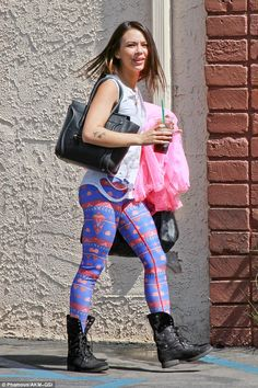 More contestants at practice: Janell Parrish sported printed leggings as she geared up for her West Side Story performance