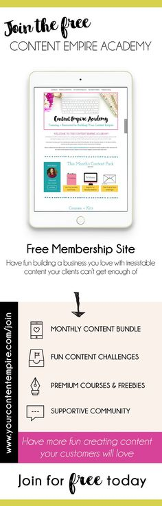 Join the free content empire academy for tools, tips, resources on content marketing, blogging, business, entrepreneur, online business, and more! trunkedcreative.com