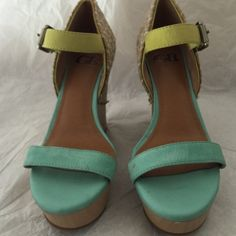 Gianni Bini wedge sandal Wedge sandal with color blocking and woven detail Gianni Bini Shoes Wedges