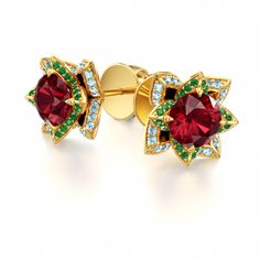Stud Earrings with Ruby and Tsavorite Garnet in 18k Yellow Gold