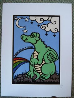 Original, hand drawn 'Wish upon a star dragon' papercut by NIna Byers. The colours are individually cut and stuck to the reverse of the design. Ideal gift for a child or dragon/fantasy art lover.