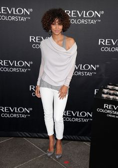 Halle Berry Skinny Pants Halle infused a little yacht style into her look at the Revlon launch. Halle Berry Loose Blouse  Halle Berry mastered elegant comfort with this languid off-the-shoulder top.