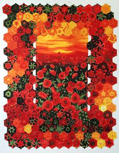 Tuscan Poppies Hexified Panel Quilt by Elizabeth Granberg Quilting Projects, Art Quilting, Quilting Ideas, Fabric Panel Quilts, One Block Wonder, Kaleidoscope Quilt, Stained Glass Flowers, Landscape Quilts, Thread Art