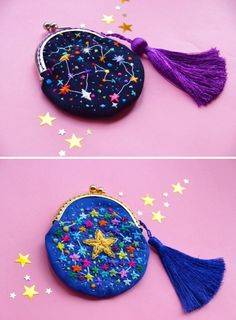 crochetbycalla: sosuperawesome: Embroidered Universe Purses, UFO Pins and Beaded Jupiter Bag, by Oliness Art Studio on Etsy See our embroidery or galaxy tags F Hand Embroidery Patterns, Floral Embroidery, Cross Stitch Embroidery, Embroidery Designs, Simple Embroidery, Machine Embroidery, Ufo, Diy Fashion, Fashion Clothes
