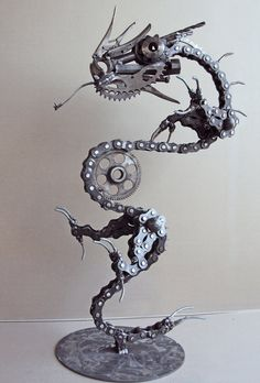 Items similar to Steampunk Dragon on Etsy - Sculpture - Print the sulpture yourself - Steampunk chinese lucky new year Dragon amazing metal work mixed media assemblage sculpture made from repurposed bicycle parts recycled art Metal Art Projects, Welding Projects, Metal Crafts, Diy Welding, Welding Ideas, Welding Tools, Recycling Projects, Welding Shop, Diy Projects