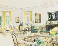 Mark Hampton watercolor of Brooke Astor's country house living room