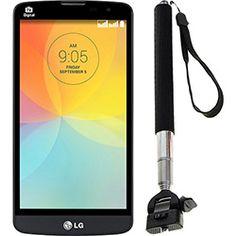 Smartphone LG L Prime Dual Desbloqueado Android 4.4 Tela 5 8GB Câmera 8MP GPS TV Digital Preto + Suporte Para Aparelho Celular Selfie Stick