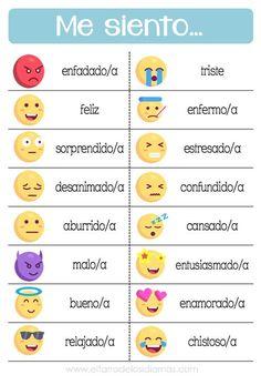 Recursos imprimibles para trabajar en clase de Español las emociones