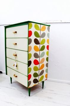 BESPOKE RETRO Vintage Tallboy Chest Of Drawers Cabinet Shabby Chic Orla Kiely on Gumtree. Retro solid wood 5 drawers vintage chest of drawers, transformed into a very unique one off piece of