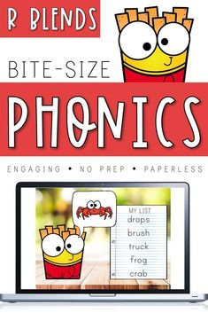 Bite-Size Phonics Lessons - R Blends [Distance Learning] Phonics Lessons, Teaching Phonics, Phonics Chart, Morning Activities, Spelling Practice, Rhyming Activities, Rhyming Words, Phonemic Awareness, Common Core Standards