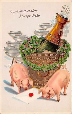 NEW Year Greetings Postcard Pigs Animals Holiday Flowers Horseshoe Luck XB9498 | eBay