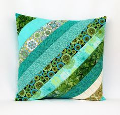 ❤️16 X 16 Pillow Cover ❤️Handmade OOAK. ❤️Envelope Back ❤️Ready to Ship This gorgeous Aqua patchwork quilted pillow cover measures a generous 16.5 x16.5 inches and is made of quality 100% cotton fabric. This throw pillow cover features exquisite spring shades of blue, green, aqua and