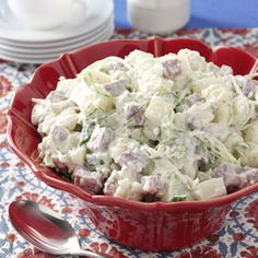 """Dublin Potato Salad Recipe -You may never go back to """"plain"""" potato salad once you've tried this recipe—I haven't! Dublin Potato Salad goes great with lots of different foods as a side dish. But it's also hearty enough to be a meal in itself. When there's time, I prepare it ahead and let the flavors blend. —Kathy Scott, Lingle, Wyoming"""