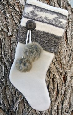 Rustic Wolf Pattern Ivory Fleece and Fur Pom-Poms Hand-Crafted Christmas Stocking
