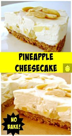 Creamy Pineapple Cheesecake, bursting with juicy pineapple in the filling. It's a really refreshing cheesecake, and even better, it's No Bake and incredibly easy to make! No Bake Desserts, Easy Desserts, Delicious Desserts, Dessert Recipes, Yummy Food, Pineapple Cheesecake, Pineapple Desserts, Food Cakes, Cupcake Cakes