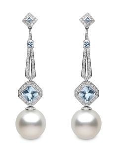 Understated glamour with these Yoko London Art Deco earrings featuring South Sea pearls, diamonds and aquamarine.