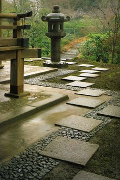 Zen Garden modern Japanese garden with stone walk, gravel path and large pagoda lantern statue Zen Garden Design, Japanese Garden Design, Japanese House, Landscape Design, Japanese Gardens, Japanese Style, Japanese Temple, Garden Modern, Chinese Garden