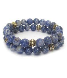 Multi Stone Ball Double Stretch Bracelet Set