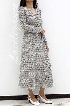 красивое платье крючком схема описание