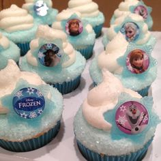 """Frozen"" Cupcakes with Character Rings because of course Roo wants a frozen birthday party. Disney Frozen Party, Frozen Birthday Theme, Frozen Theme Party, Birthday Fun, Birthday Parties, Frozen Birthday Cupcakes, Disney Frozen Cupcakes, Olaf Cupcakes, Olaf Party"