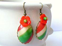 Red Green Earrings Retro Red Green Vintage Glass by Sweetystuff, £17.00